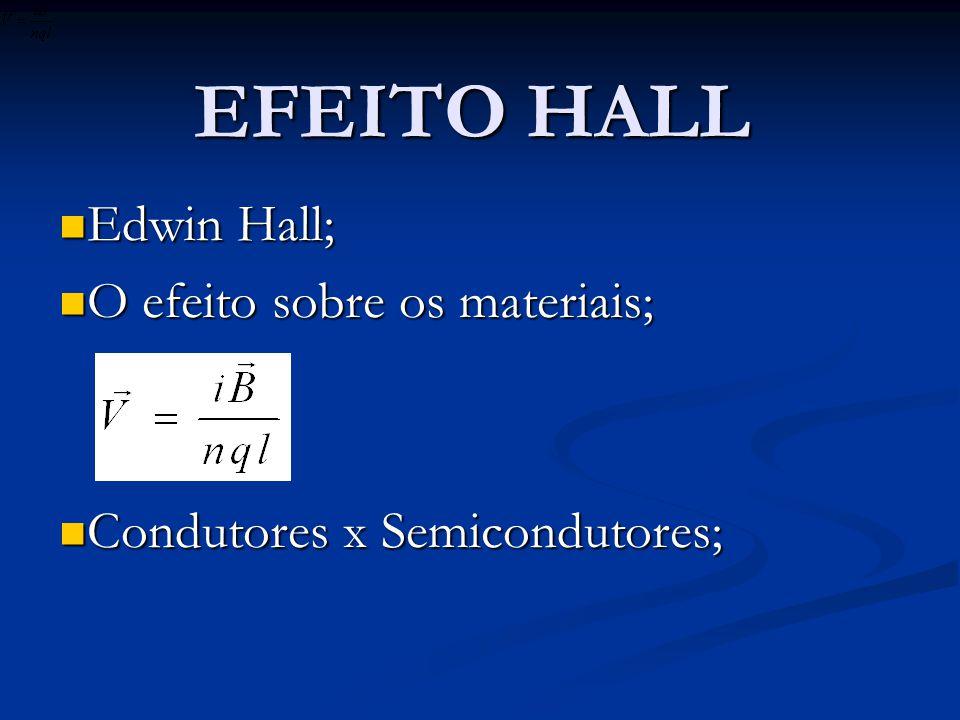 Edwin Hall; O efeito sobre os materiais; Condutores x Semicondutores;