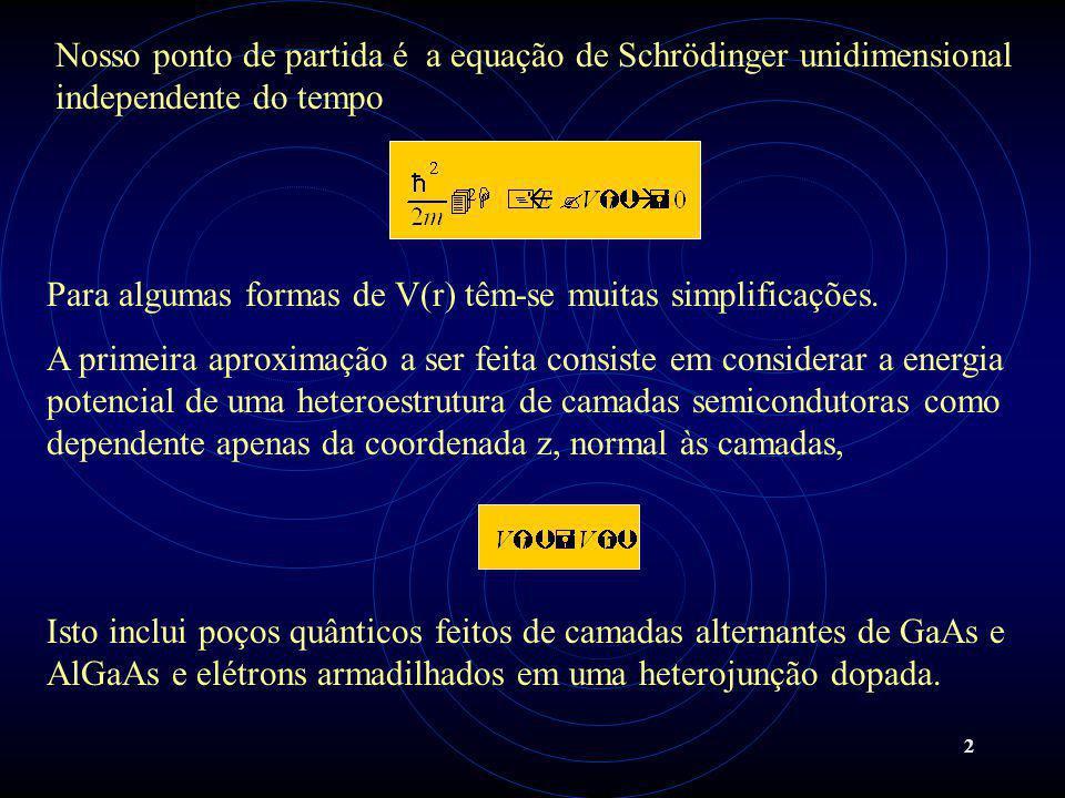 Nosso ponto de partida é a equação de Schrödinger unidimensional independente do tempo