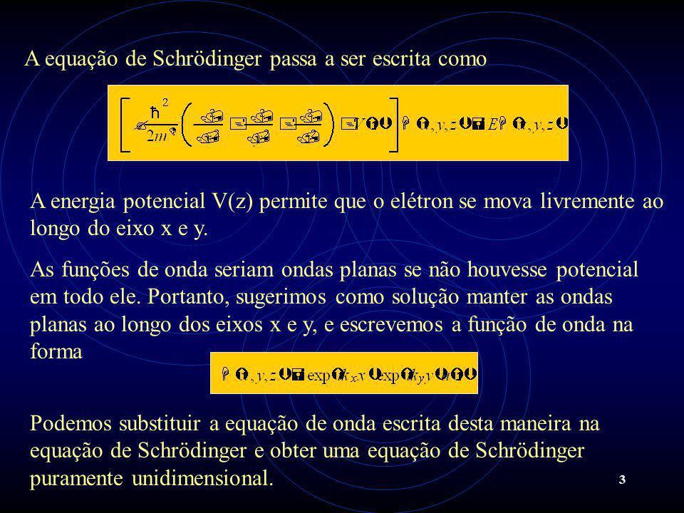 A equação de Schrödinger passa a ser escrita como