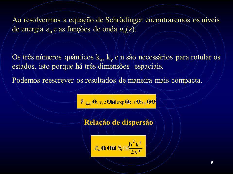 Ao resolvermos a equação de Schrödinger encontraremos os níveis de energia en e as funções de onda un(z).