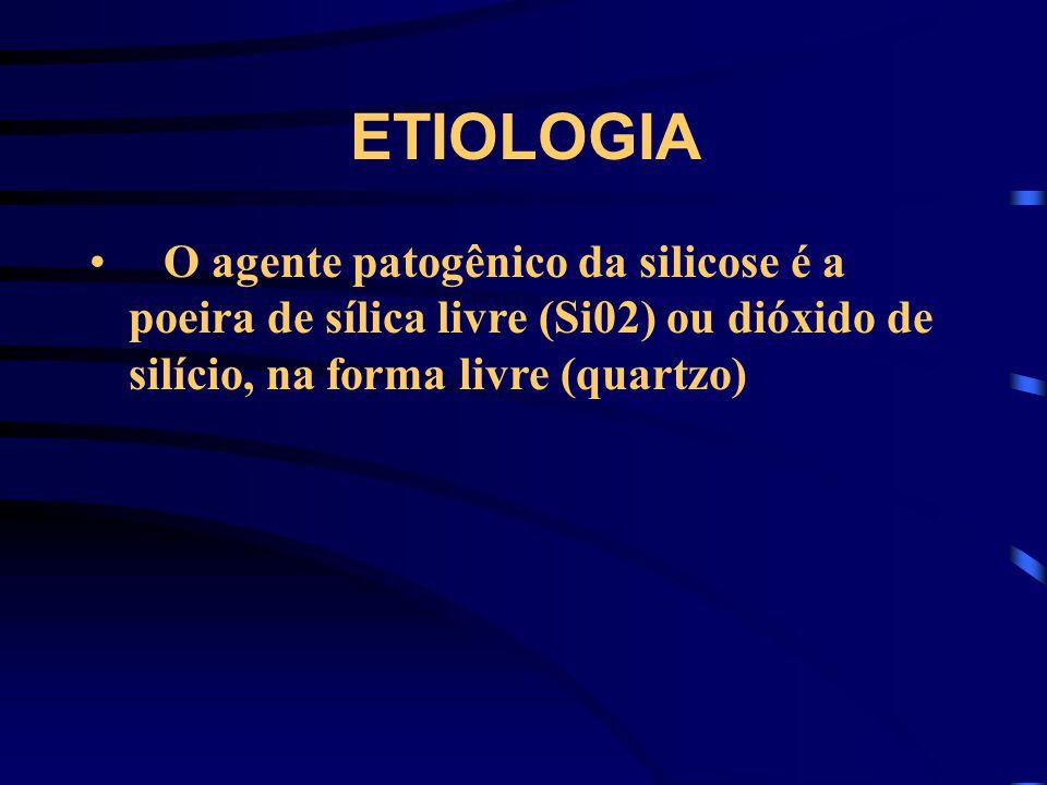 ETIOLOGIA O agente patogênico da silicose é a poeira de sílica livre (Si02) ou dióxido de silício, na forma livre (quartzo)