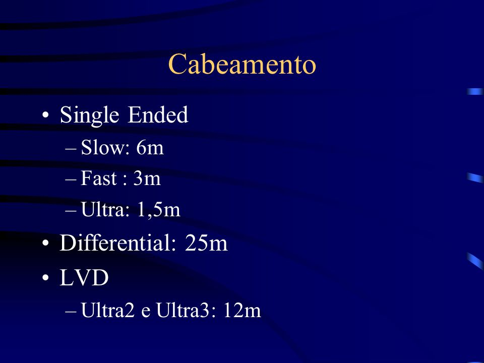 Cabeamento Single Ended Differential: 25m LVD Slow: 6m Fast : 3m