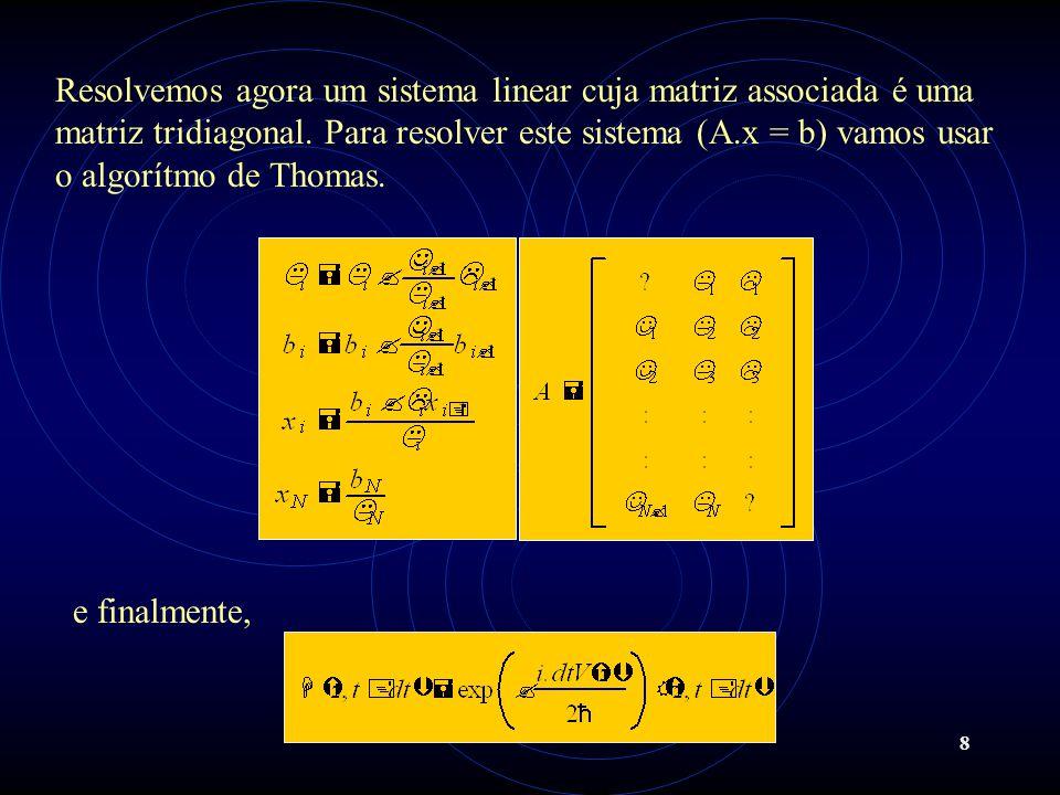 Resolvemos agora um sistema linear cuja matriz associada é uma matriz tridiagonal. Para resolver este sistema (A.x = b) vamos usar o algorítmo de Thomas.