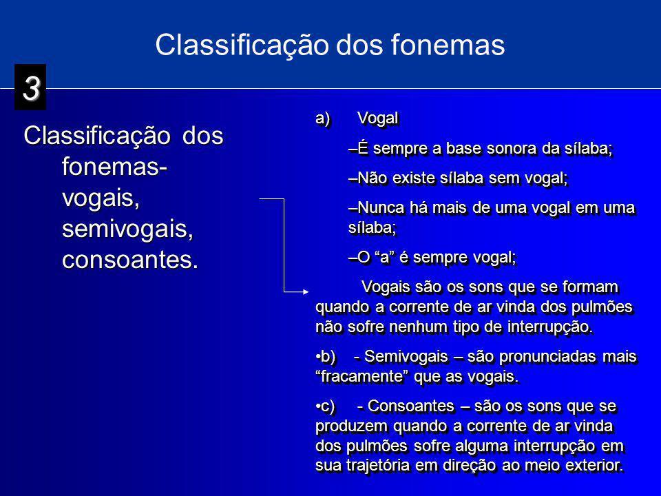Classificação dos fonemas