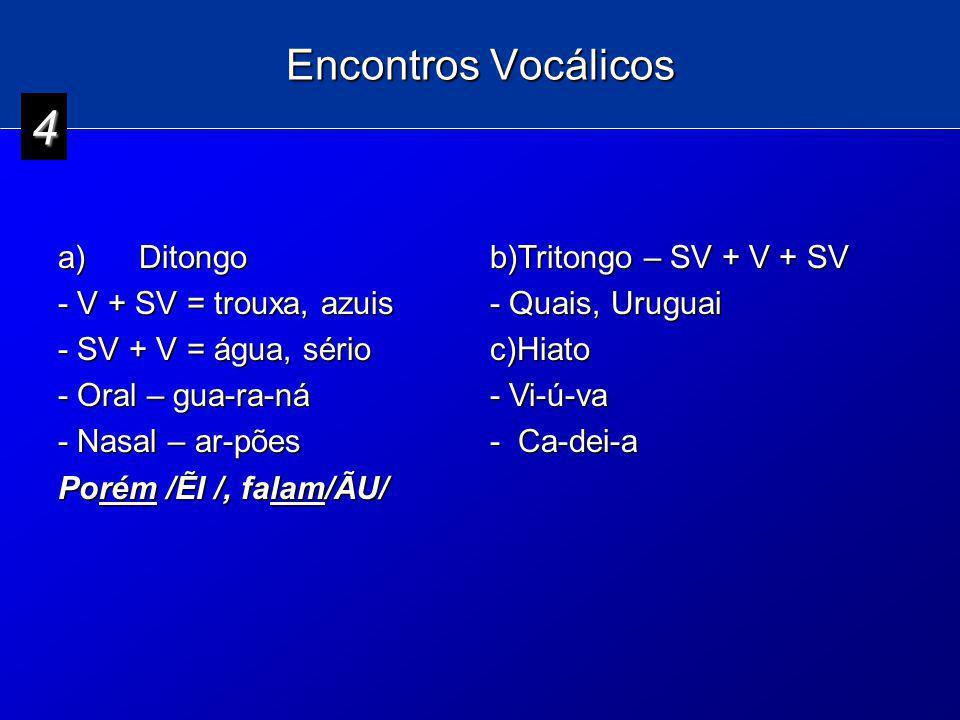 4 Encontros Vocálicos a) Ditongo - V + SV = trouxa, azuis