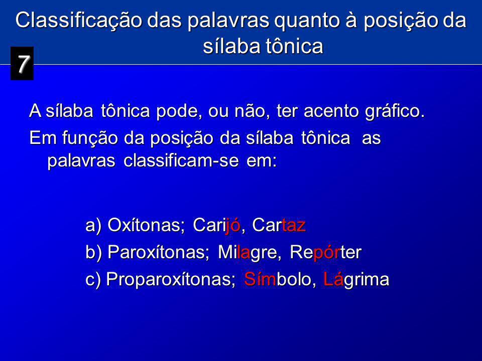 Classificação das palavras quanto à posição da sílaba tônica