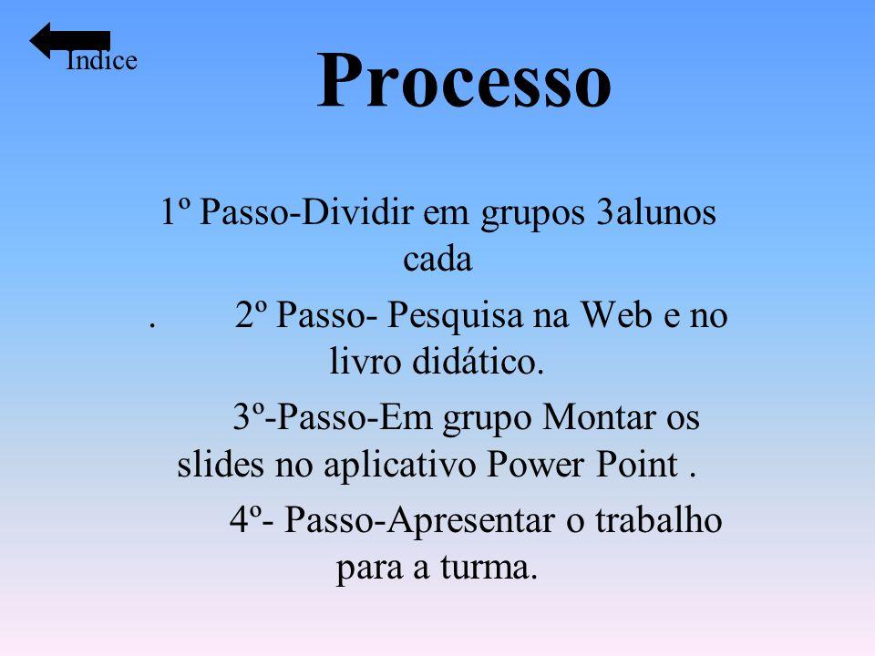 Processo 1º Passo-Dividir em grupos 3alunos cada