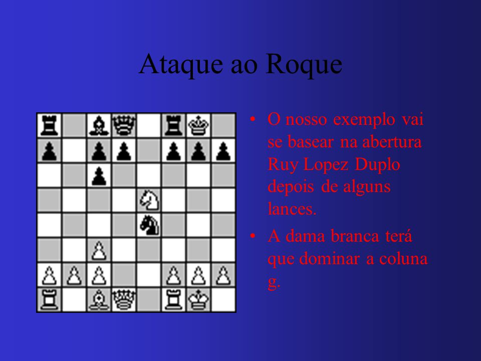 Ataque ao Roque O nosso exemplo vai se basear na abertura Ruy Lopez Duplo depois de alguns lances.
