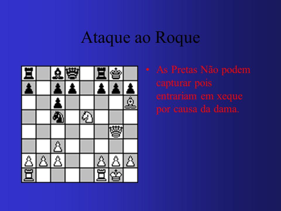 Ataque ao Roque As Pretas Não podem capturar pois entrariam em xeque por causa da dama.