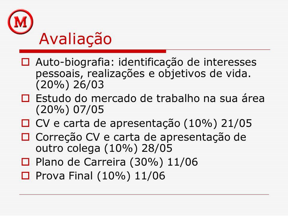 Avaliação Auto-biografia: identificação de interesses pessoais, realizações e objetivos de vida. (20%) 26/03.