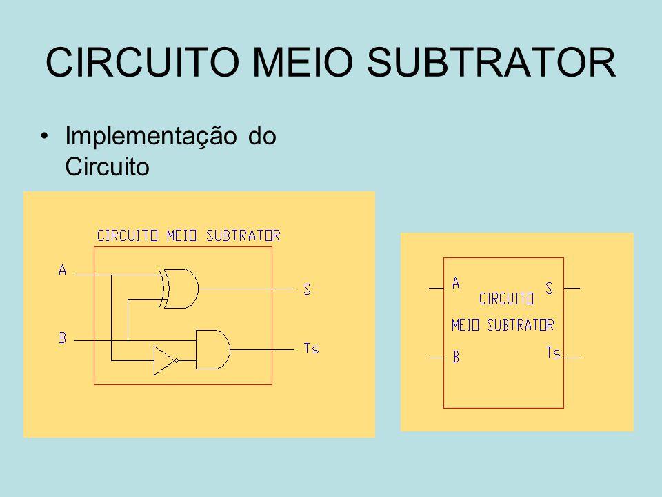 CIRCUITO MEIO SUBTRATOR
