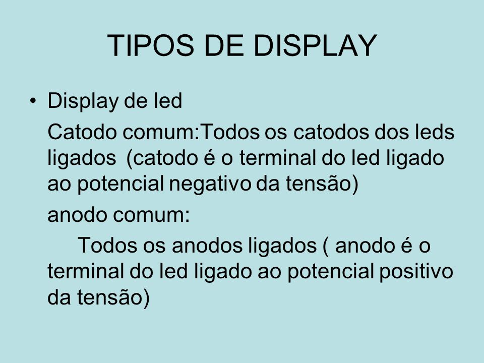 TIPOS DE DISPLAY Display de led