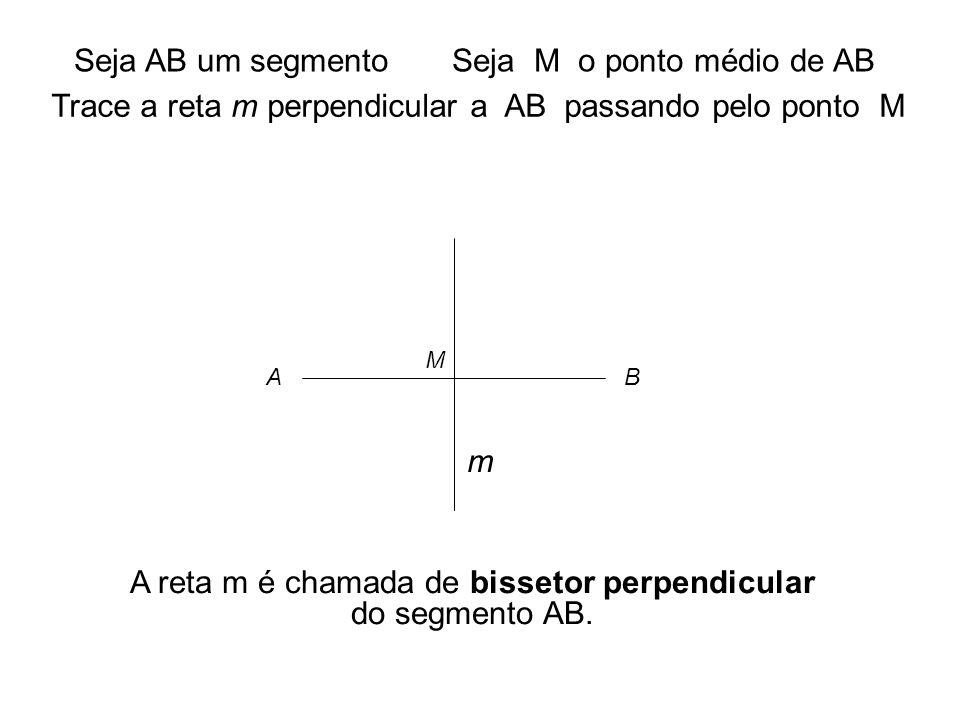 A reta m é chamada de bissetor perpendicular do segmento AB.