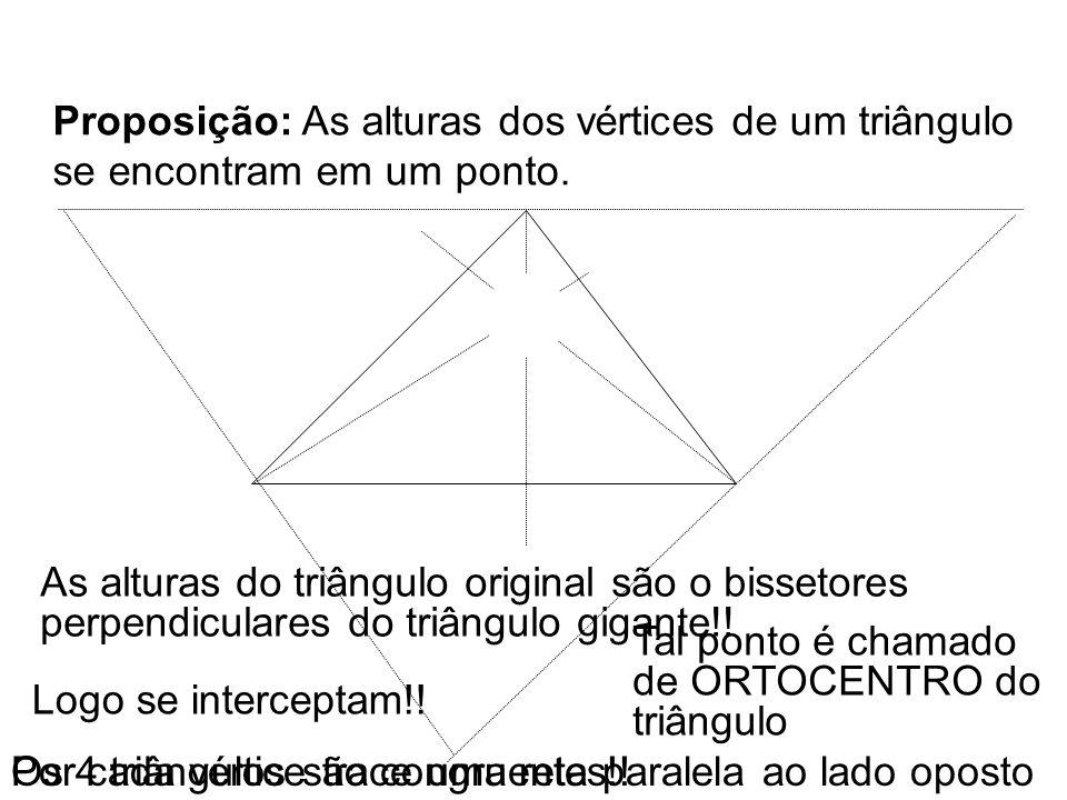 Proposição: As alturas dos vértices de um triângulo se encontram em um ponto.