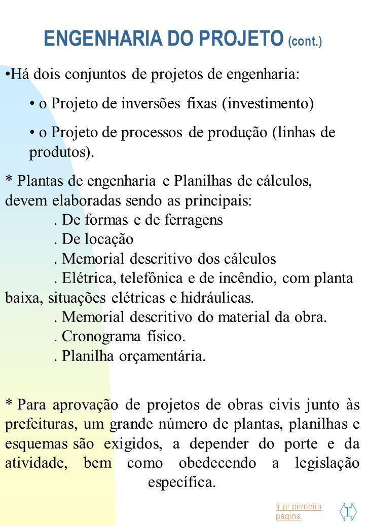 ENGENHARIA DO PROJETO (cont.)