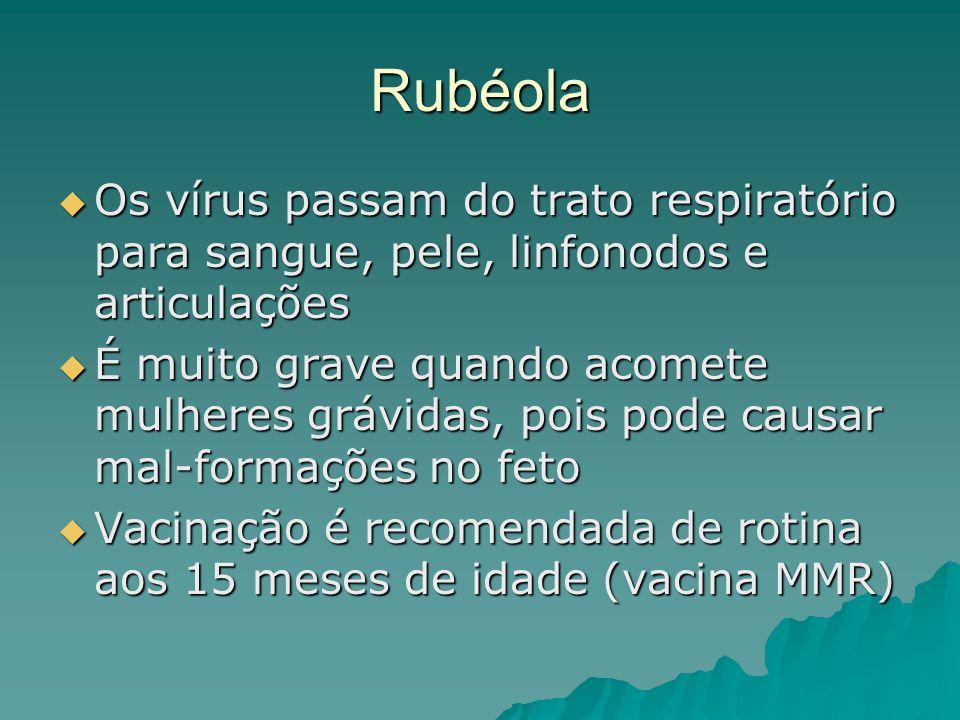 Rubéola Os vírus passam do trato respiratório para sangue, pele, linfonodos e articulações.