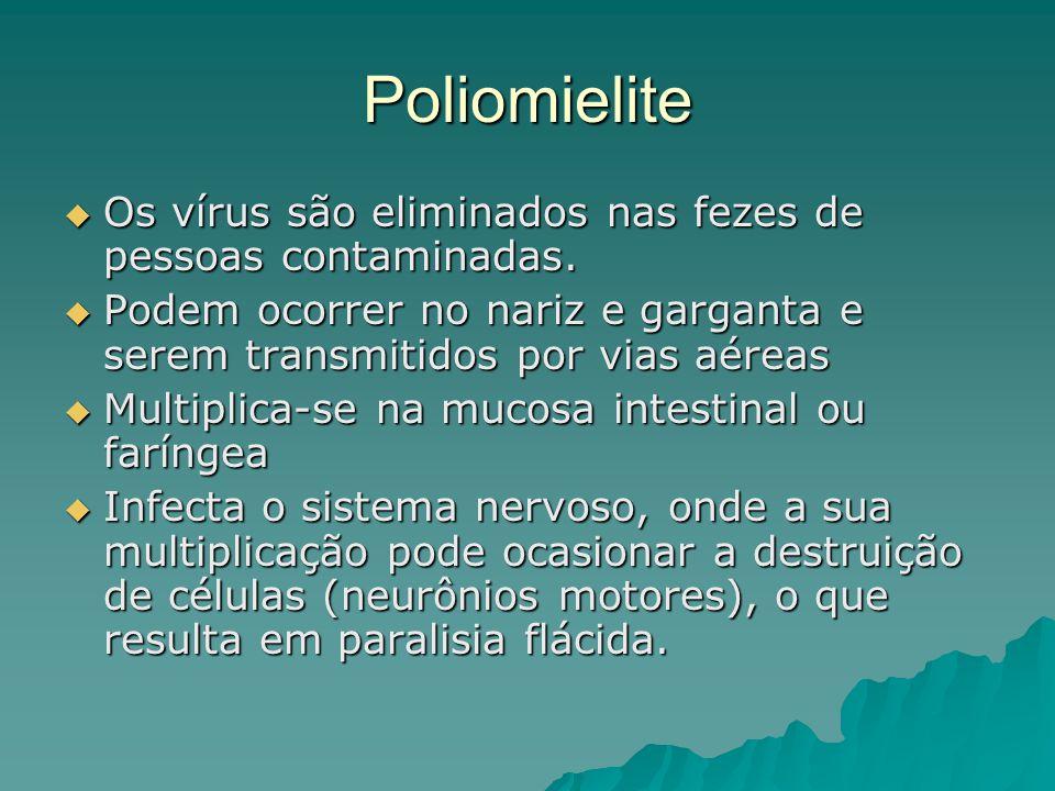 Poliomielite Os vírus são eliminados nas fezes de pessoas contaminadas. Podem ocorrer no nariz e garganta e serem transmitidos por vias aéreas.