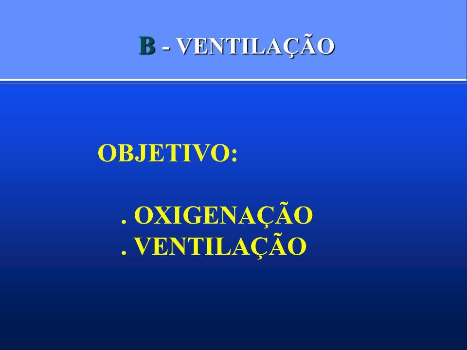 B - VENTILAÇÃO OBJETIVO: . OXIGENAÇÃO . VENTILAÇÃO