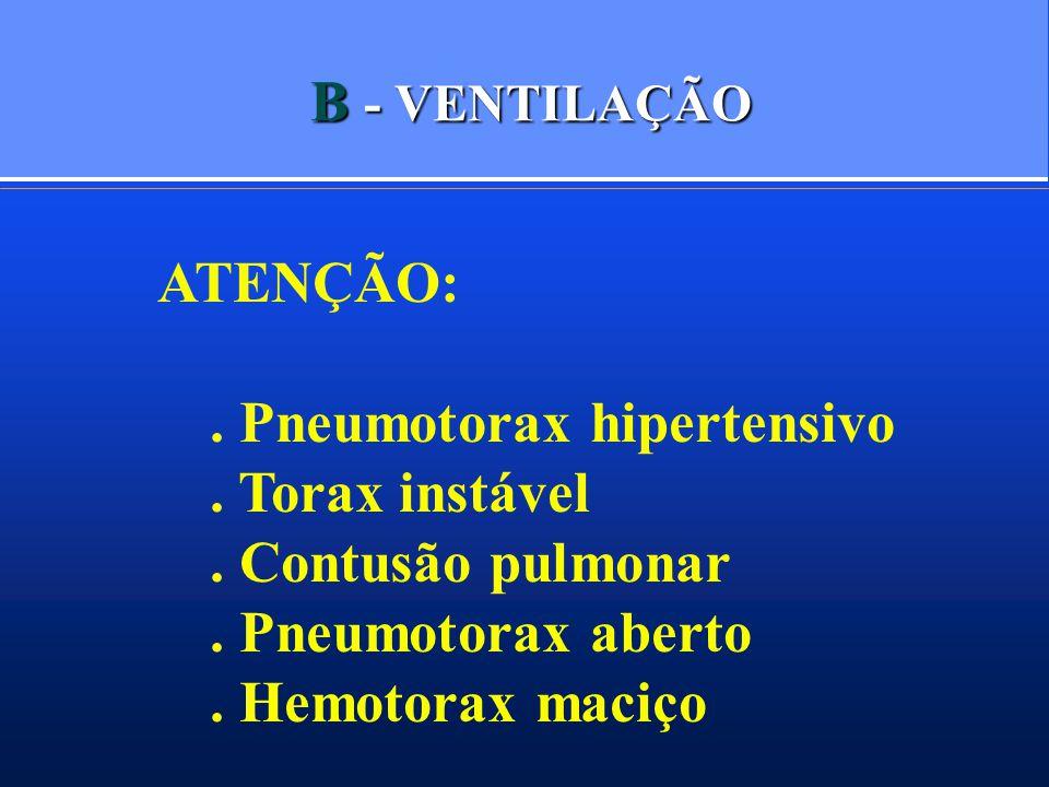 B - VENTILAÇÃO ATENÇÃO: . Pneumotorax hipertensivo. . Torax instável. . Contusão pulmonar. . Pneumotorax aberto.