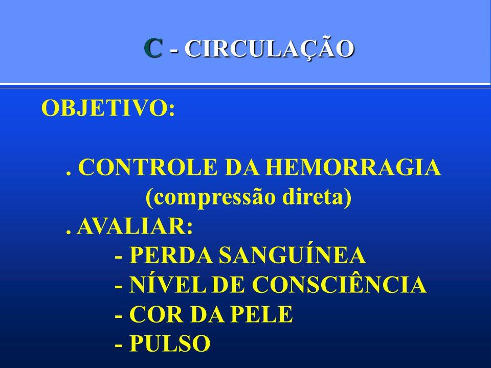 C - CIRCULAÇÃO OBJETIVO: . CONTROLE DA HEMORRAGIA (compressão direta)
