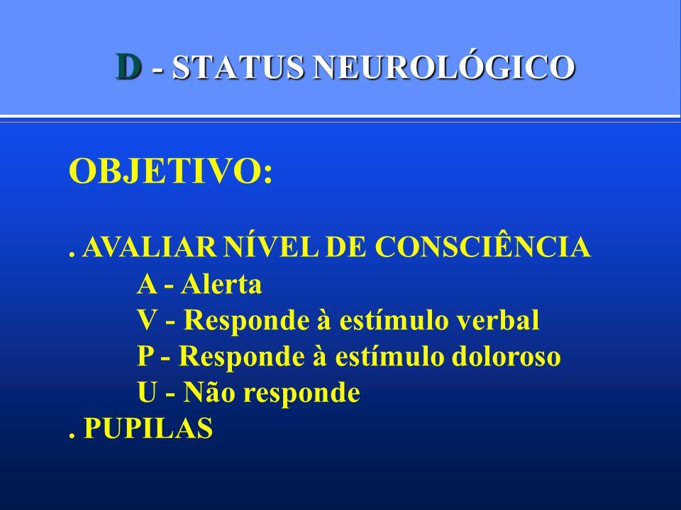 D - STATUS NEUROLÓGICO OBJETIVO: . AVALIAR NÍVEL DE CONSCIÊNCIA