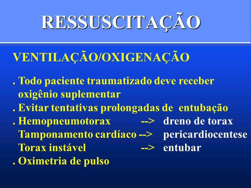 RESSUSCITAÇÃO VENTILAÇÃO/OXIGENAÇÃO