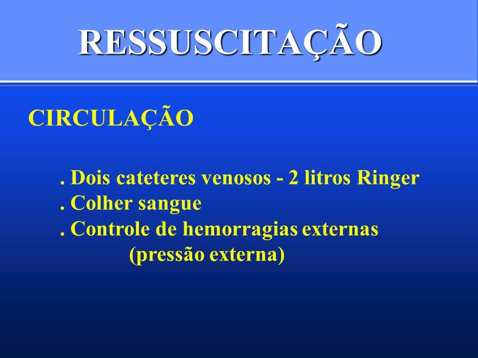 RESSUSCITAÇÃO CIRCULAÇÃO . Dois cateteres venosos - 2 litros Ringer