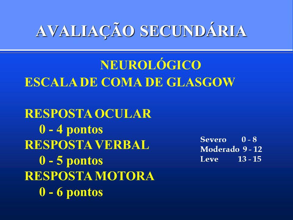 AVALIAÇÃO SECUNDÁRIA NEUROLÓGICO ESCALA DE COMA DE GLASGOW