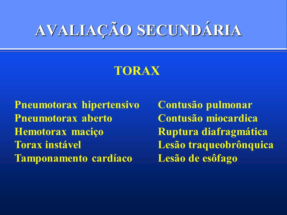AVALIAÇÃO SECUNDÁRIA TORAX Pneumotorax hipertensivo Contusão pulmonar