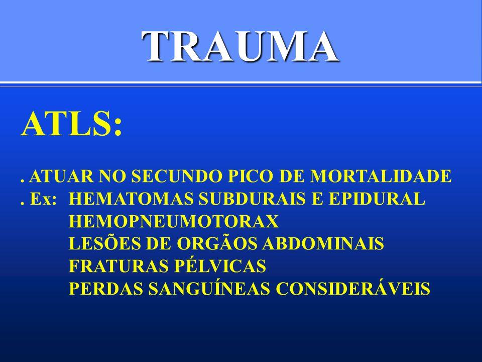 TRAUMA ATLS: . ATUAR NO SECUNDO PICO DE MORTALIDADE