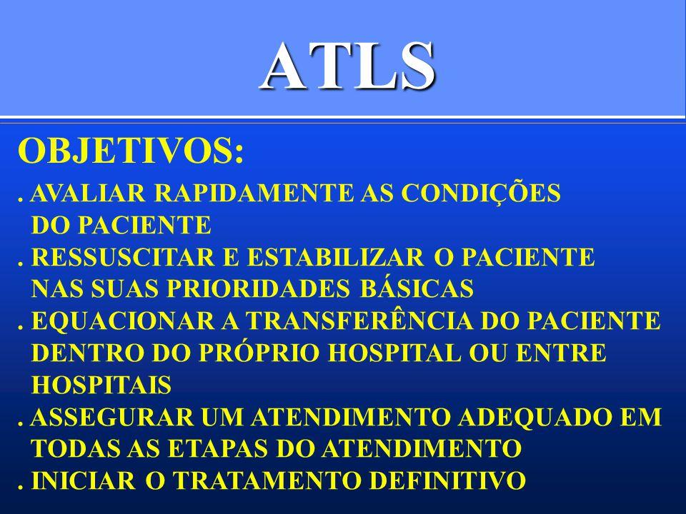 ATLS OBJETIVOS: . AVALIAR RAPIDAMENTE AS CONDIÇÕES DO PACIENTE