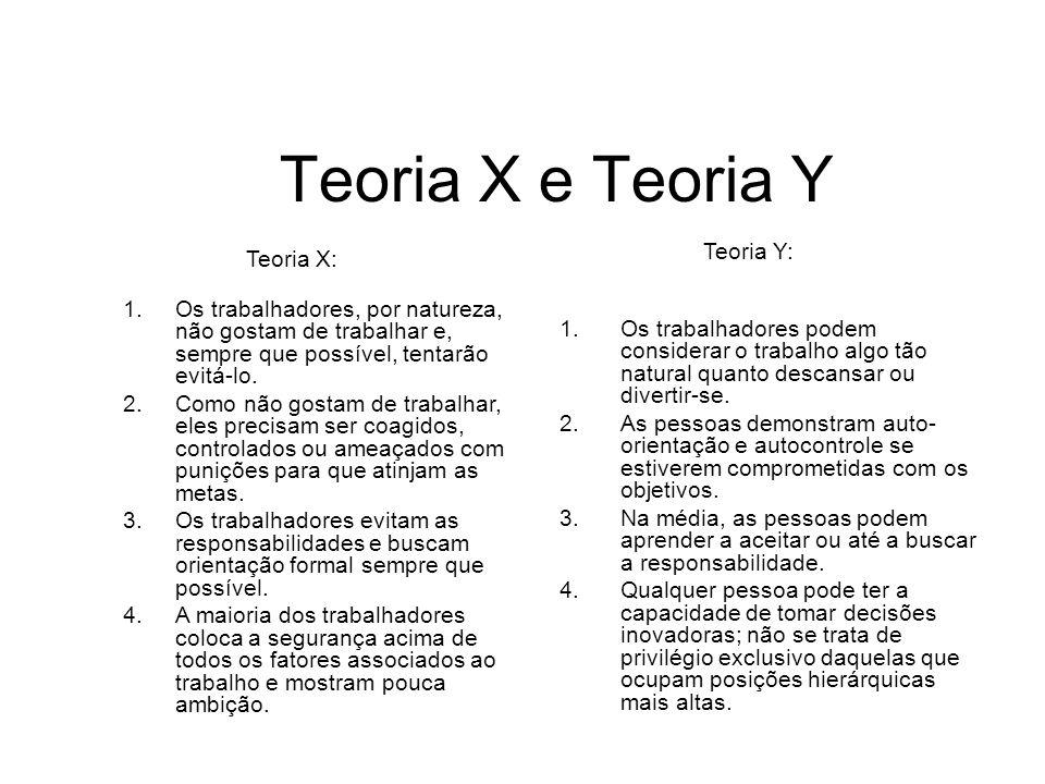 Teoria X e Teoria Y Teoria Y: Teoria X: