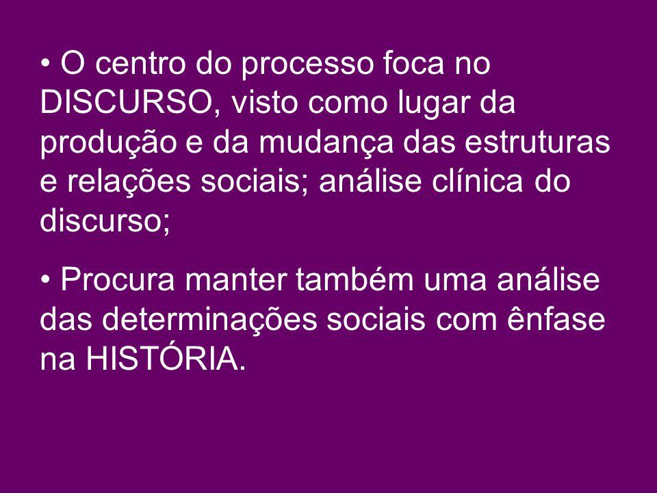 O centro do processo foca no DISCURSO, visto como lugar da produção e da mudança das estruturas e relações sociais; análise clínica do discurso;