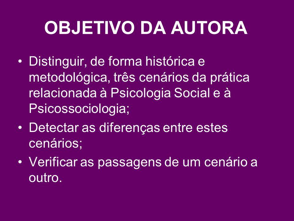 OBJETIVO DA AUTORA Distinguir, de forma histórica e metodológica, três cenários da prática relacionada à Psicologia Social e à Psicossociologia;