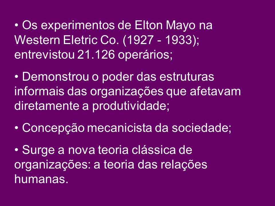 Os experimentos de Elton Mayo na Western Eletric Co