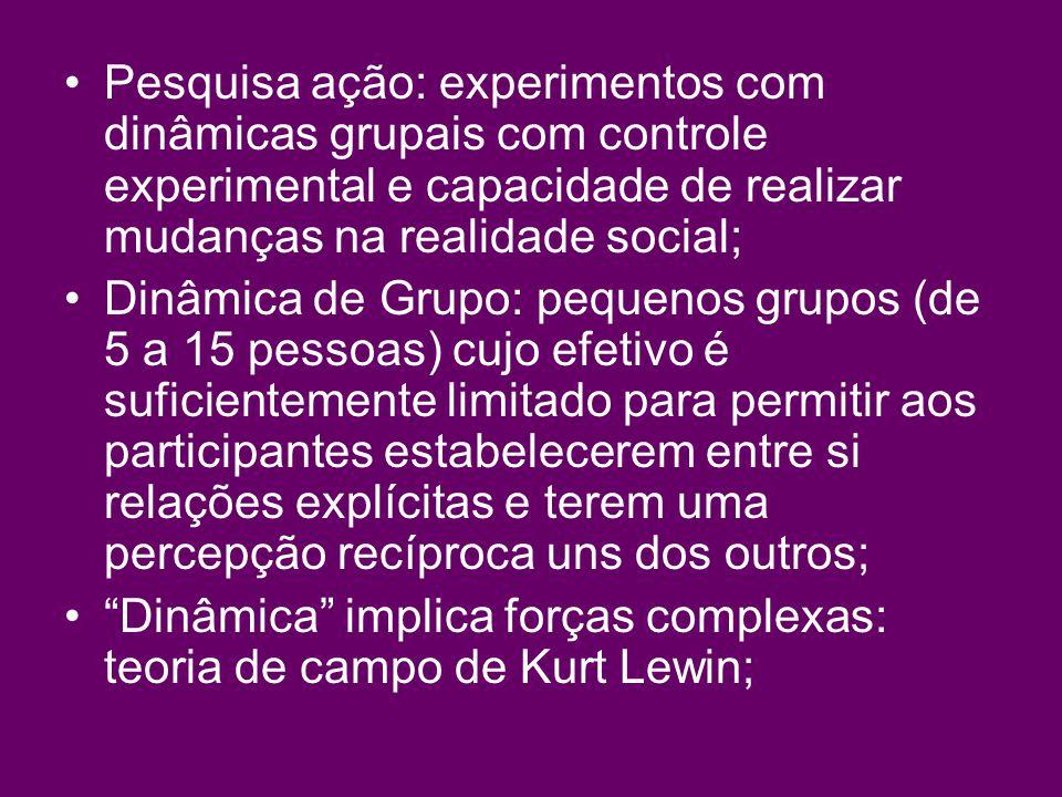 Pesquisa ação: experimentos com dinâmicas grupais com controle experimental e capacidade de realizar mudanças na realidade social;