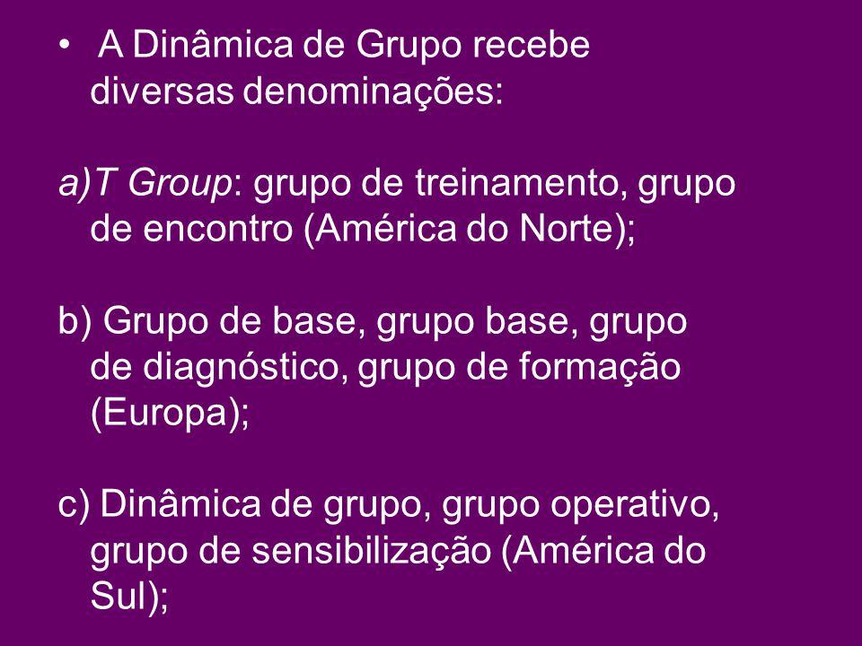 A Dinâmica de Grupo recebe diversas denominações: