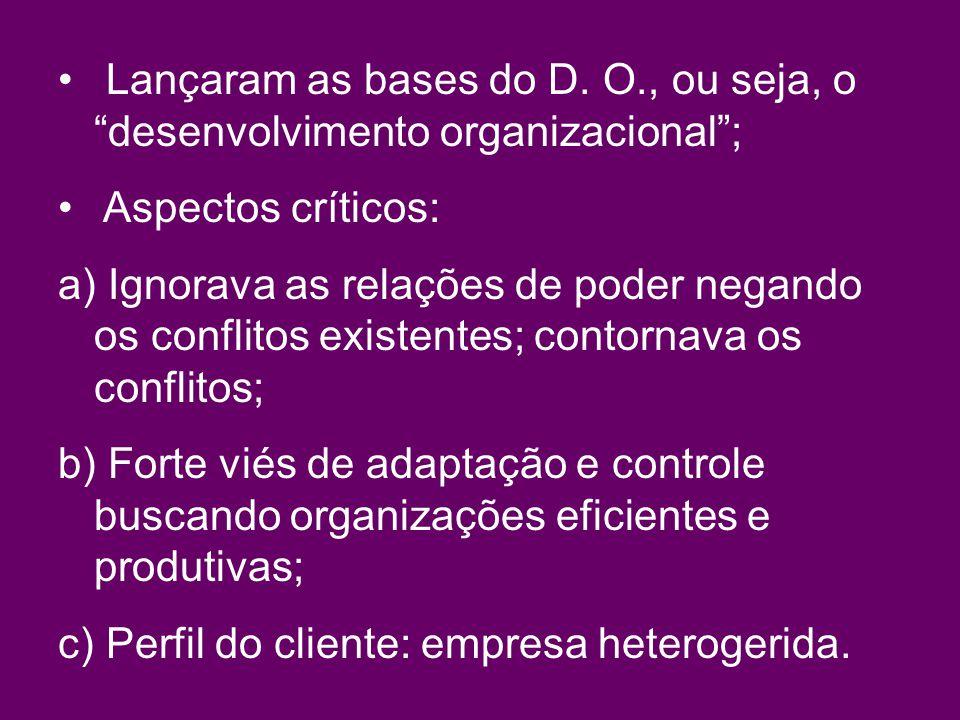 Lançaram as bases do D. O., ou seja, o desenvolvimento organizacional ;