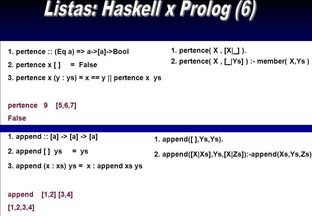 Listas: Haskell x Prolog (6)