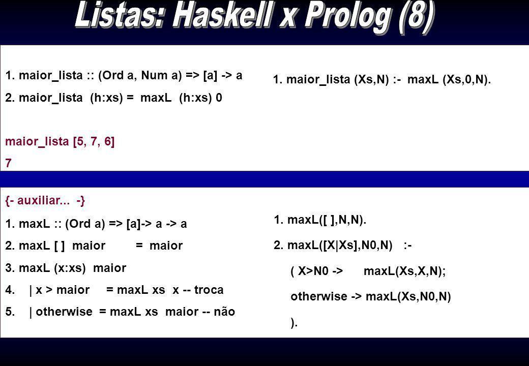 Listas: Haskell x Prolog (8)