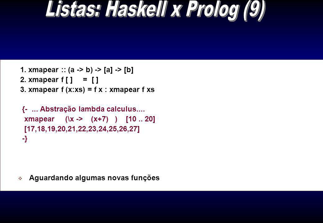 Listas: Haskell x Prolog (9)