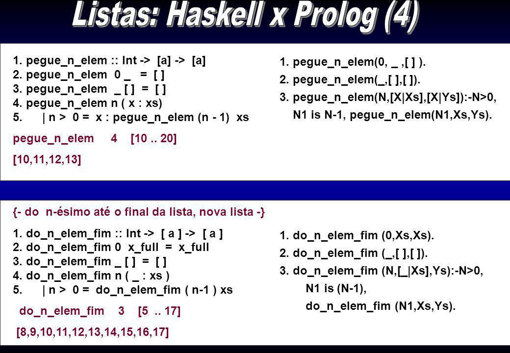Listas: Haskell x Prolog (4)
