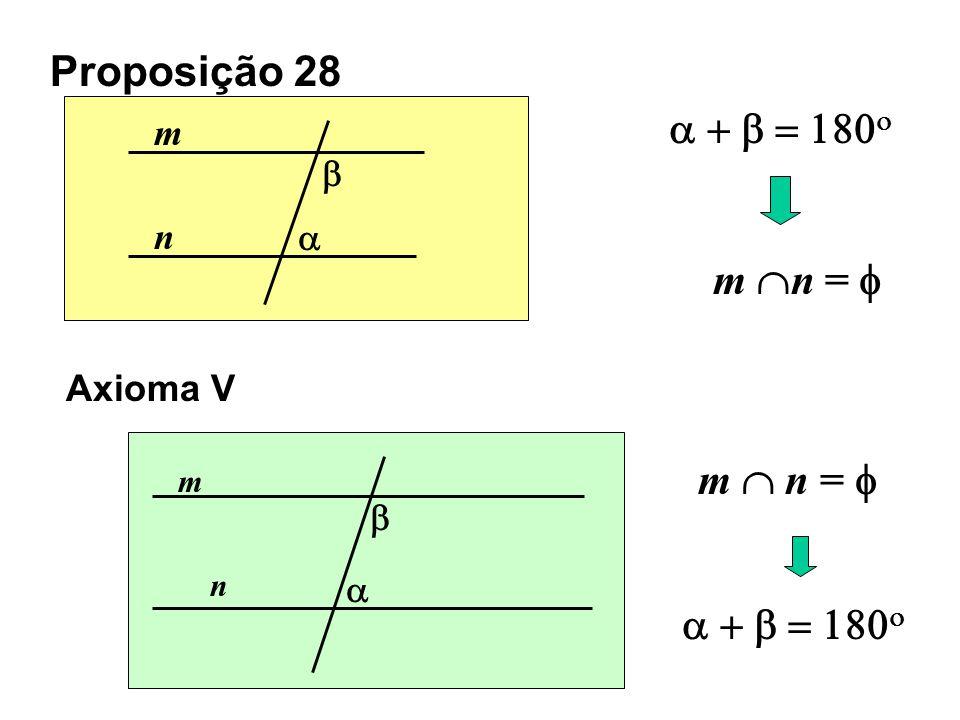 Proposição 28 a + b = 180o m n =  m  n =  a + b = 180o m b n a