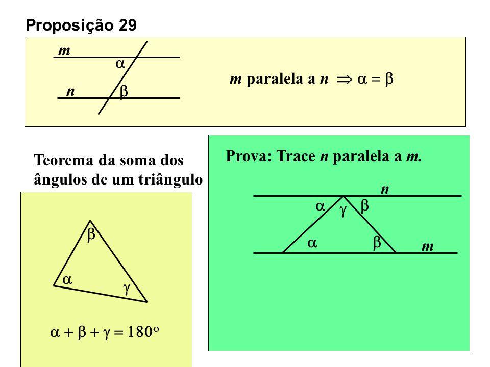 Proposição 29 m. a. m paralela a n  a = b. n. b. Prova: Trace n paralela a m. Teorema da soma dos ângulos de um triângulo.