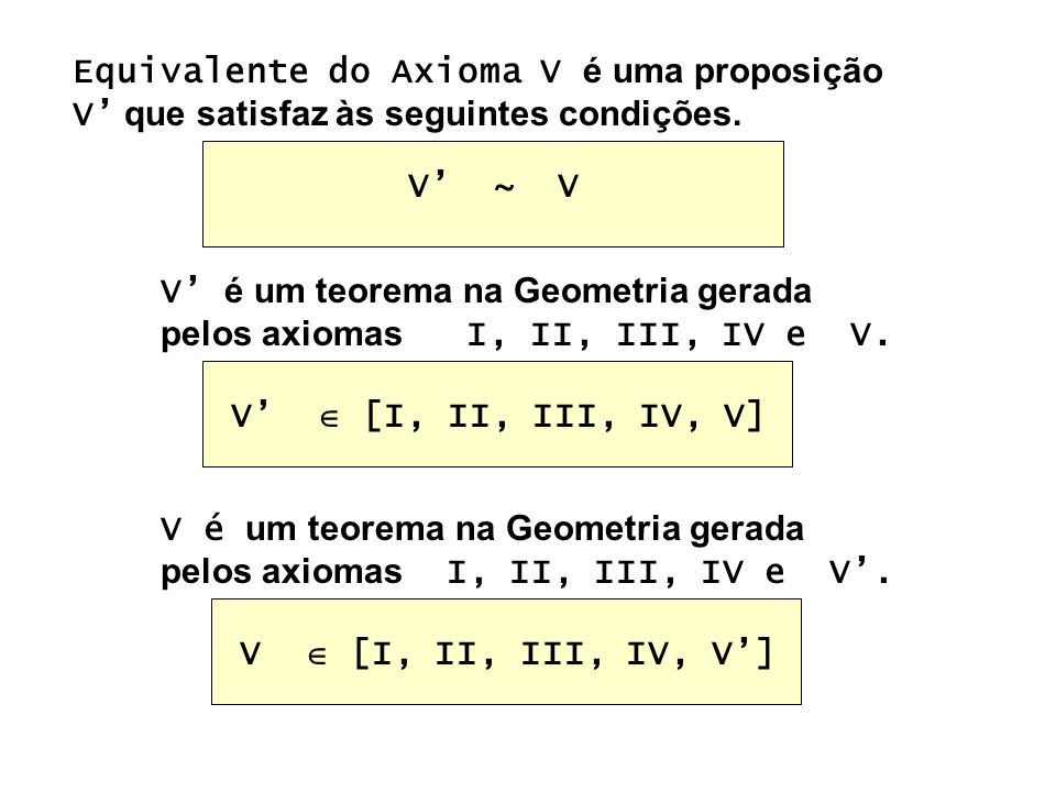 Equivalente do Axioma V é uma proposição V' que satisfaz às seguintes condições.