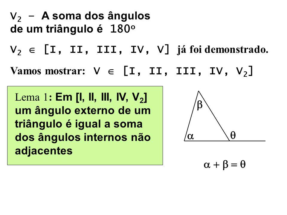 V2 – A soma dos ângulos de um triângulo é 180o