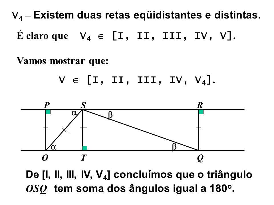 V4 – Existem duas retas eqüidistantes e distintas.