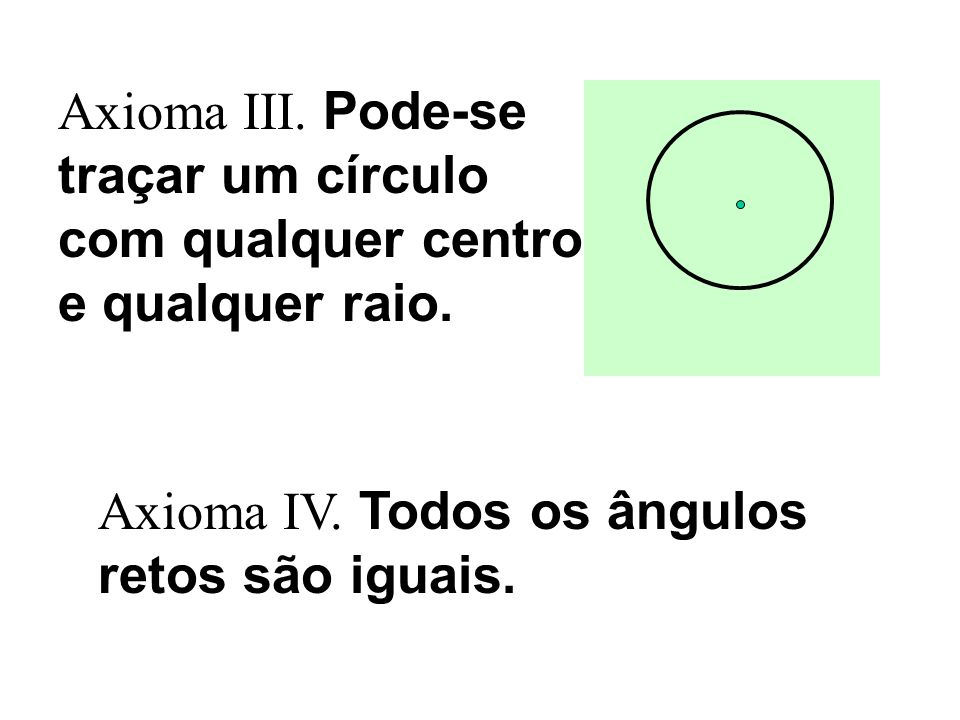 Axioma III. Pode-se traçar um círculo com qualquer centro e qualquer raio.
