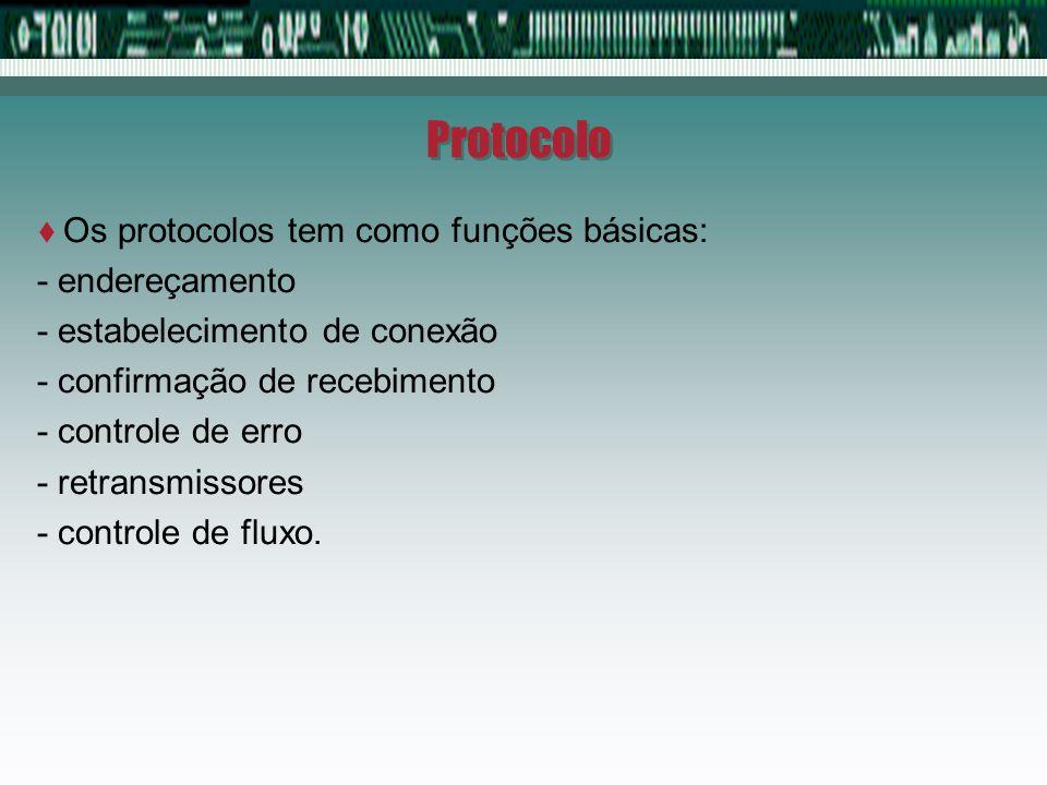 Protocolo Os protocolos tem como funções básicas: - endereçamento
