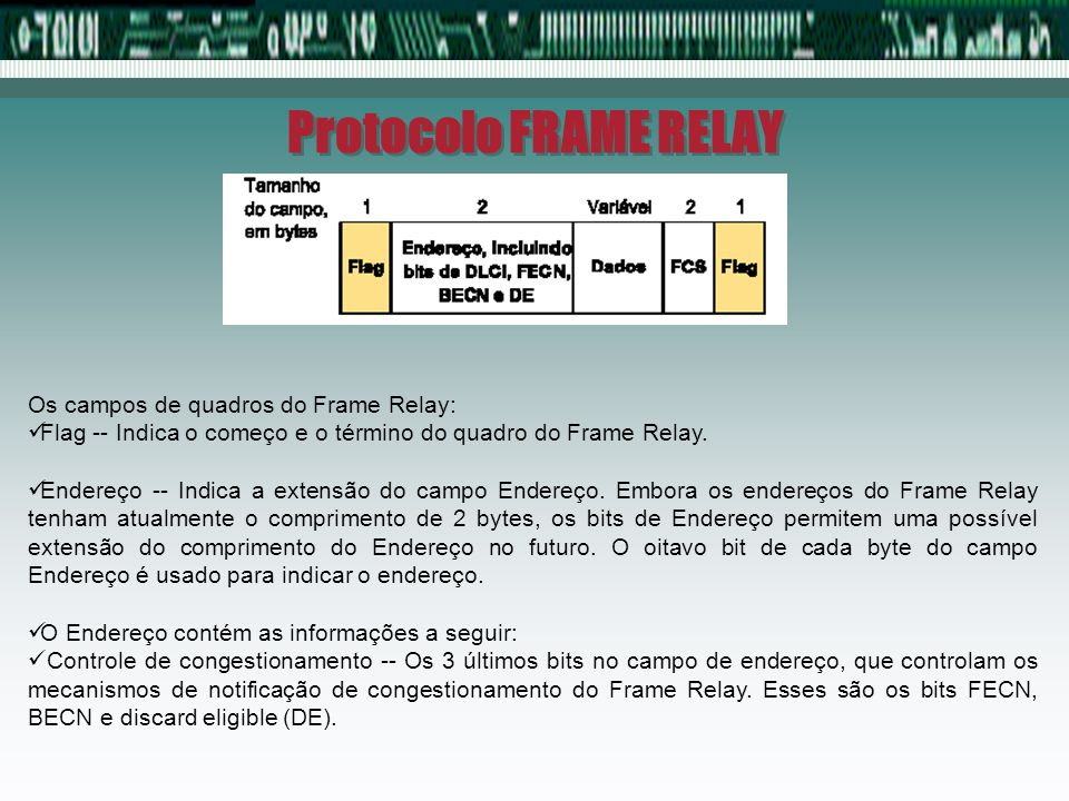 Protocolo FRAME RELAY Os campos de quadros do Frame Relay: